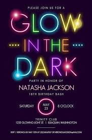 Design Party Invitations Glow In The Dark Typography Birthday Party Invitation In