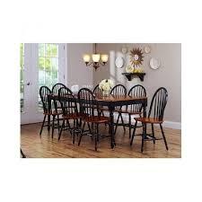 farmhouse dining set black oak dinner table 8 windsor chairs rustic expandable betterhomesgardens traditional