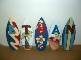 surfboard wall decorative art surf decor letter signs personalized