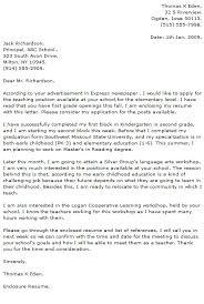 Second Grade Teacher Cover Letter Elementary Teacher Cover Letter