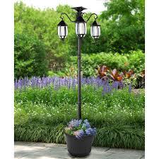 Global Madison Solar Lamp Post And Planter 302013 Black Aluminum