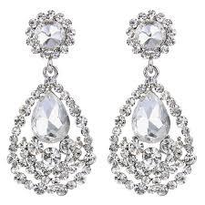 brilove bohemian teardrop chandelier silver tone