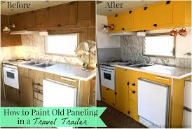 Kitchen Paneling Salt And Pepper Moms How To Paint Old Paneling In A Travel Trailer