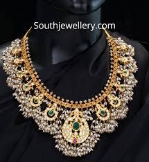 Antique Polki Jewellery Designs 22 Carat Gold Antique Peacock Guttapusalu Necklace Adorned