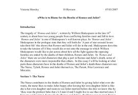 who is to blame for the deaths of romeo and juliet gcse english  document image preview