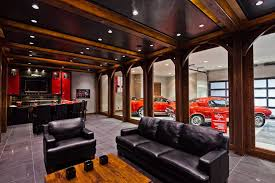 man cave garage. Garage Man Cave Traditional With Mustangs Leather Sofas