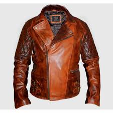 new 38 classic diamond biker brown distressed leather jacket