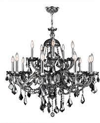 provence 15 light chrome finish smoke crystal chandelier 35 x 31 two 2