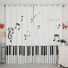 Black And White Unique Nursery Music Note Curtains And Drapes Music Window  Curtains