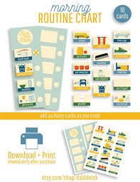 Kids Routine Chart Morning Routine Chart I Blue I Kids Routine I Printable Morning Routine I Visual Routine Cards I Toddler Routine Cards I Routine Pictures