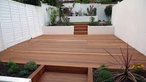 Decking Rendered Smooth Walls White Fence Modern Planting Garden