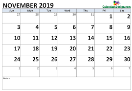 Calendar Doc November 2019 Calendar Word Doc Free 2019 Printable