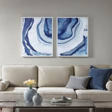 agate printed design in blues with white frame wall art on blue gray and white wall art with wall art