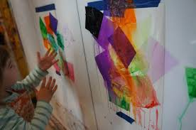our tiny tots got to do their favorite thing use the spray bottles it was even more fun that we used them to make art rather than clean up art