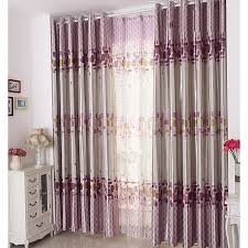 cool modern curtains in gray and purple color polyester plaid geometric curtains