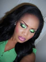 bright lime green smoky eye