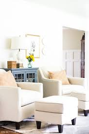 Neutral furniture Boho Living Room Chairs With Footstools Neutral Home Decor Ideas On Sutton Place Neutral Home Decor Ideas Why Love It On Sutton Place