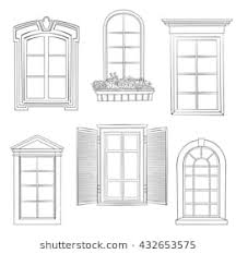 window drawing. Exellent Window Window Set Windows Of Different Architectural Style Stylish Doodle Sketch  Collection Intended Drawing A
