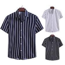 Wilkk <b>Men</b> Summer Fashion <b>Striped Printed Short</b>-<b>Sleeved</b> Shirt ...