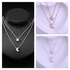silver gift multilayer moon and star gold pendant charm double chain necklace uk 1 of 10free