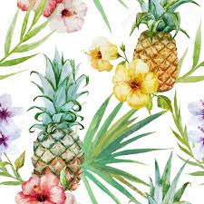 Topical Pattern Enchanting Vector Topical Pattern With Pineapples Hibiscus Flowers And Palm