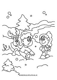 Kleurplaat Sneeuwpret Feestdagen