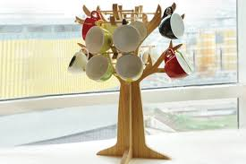 wooden mug tree holder coffee cup rack 56cups for cafe