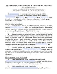 Power Of Attorney For Child Care Kansas Minor Child Power Of Attorney Form Power Of