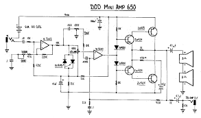 dod 650 mini amplifier as you can see it is essentially a 250 a small 4 transistor power amp section powered by six aa cells so basically their pignose though i ve