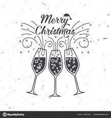 merry retro template with champagne glasses stock vector