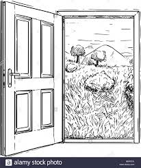 closed door drawing. Contemporary Door Vector Artistic Drawing Illustration Of Closed Door To Beautiful Nature  Landscape Intended N
