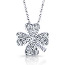 14k white gold 4 leaf clover diamond necklace