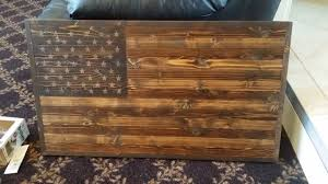 scorched and burnt with flames hand torched rustic wooden american flag wall art dark stain