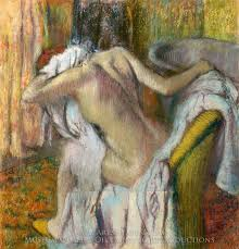 edgar degas after the bath woman drying herself oil painting reion