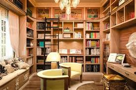Basement Office Design Interesting Basement Office With Library Architecture Home Design