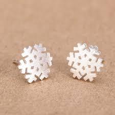 <b>S925 pure silver</b> earrings snowflake silver brushed small earrings ...