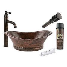 copper sink faucet. Plain Copper Premier Copper Products BSP1_VBT20DB Bath Tub Vessel Hammered Sink  With Single Handle Faucet Inside Faucet T