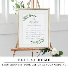 Greenery The Big Day Template Wedding Order Of Events Sign