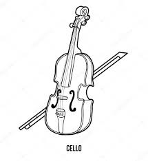 Kleurboek Voor Kinderen Muziekinstrumenten De Cello Stockvector