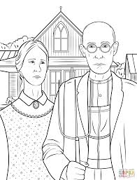 Extravagant Goth Coloring Pages American Gothic By Grant Wood Page