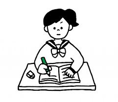 勉強するセーラー服女子のイラスト 無料イラスト素材素材ラボ