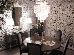 crystal dining room for luxurious impression. Dining Room:An Elegant Table And Chairs For Luxurious Room With Wallpaper, Mirror Crystal Impression O