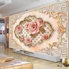 Custom <b>Wall</b> Mural <b>European Style</b> 3D Embossed Non woven Rose ...