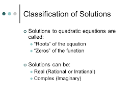 solving quadratic equations what does x 3 classification