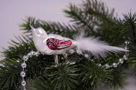 Kleiner Vogel Weiß Matt Mit Rot Christbaumschmuck Aus Glas