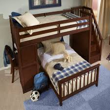 double bunk bed with space underneath. Wonderful Bunk Cherry Finished Hardwood Lshaped Bunk That Gives You The Option For A Full  Or On Double Bunk Bed With Space Underneath R