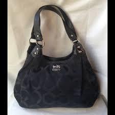 Coach Black Signature Madison Maggie Shoulder Bag