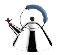 buy alessi michael graves kettle with bird whistle blue handle