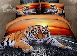 3d lying tiger at dusk printed cotton 4 piece bedding sets duvet covers
