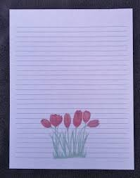 Lined Stationery Paper Cool Lined Stationery Sheets Red Tulip Lined Stationery Sheets Etsy